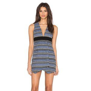 BCBG Black & Blue Deep V Asymmetric Mini Dress